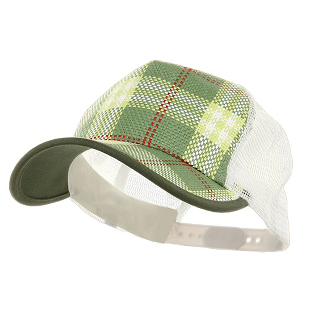 Plaid Straw Trucker Caps-Green - Hats and Caps Online Shop - Hip Head Gear