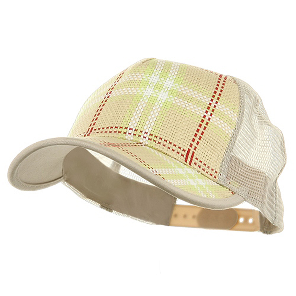 Plaid Straw Trucker Caps-Natural - Hats and Caps Online Shop - Hip Head Gear