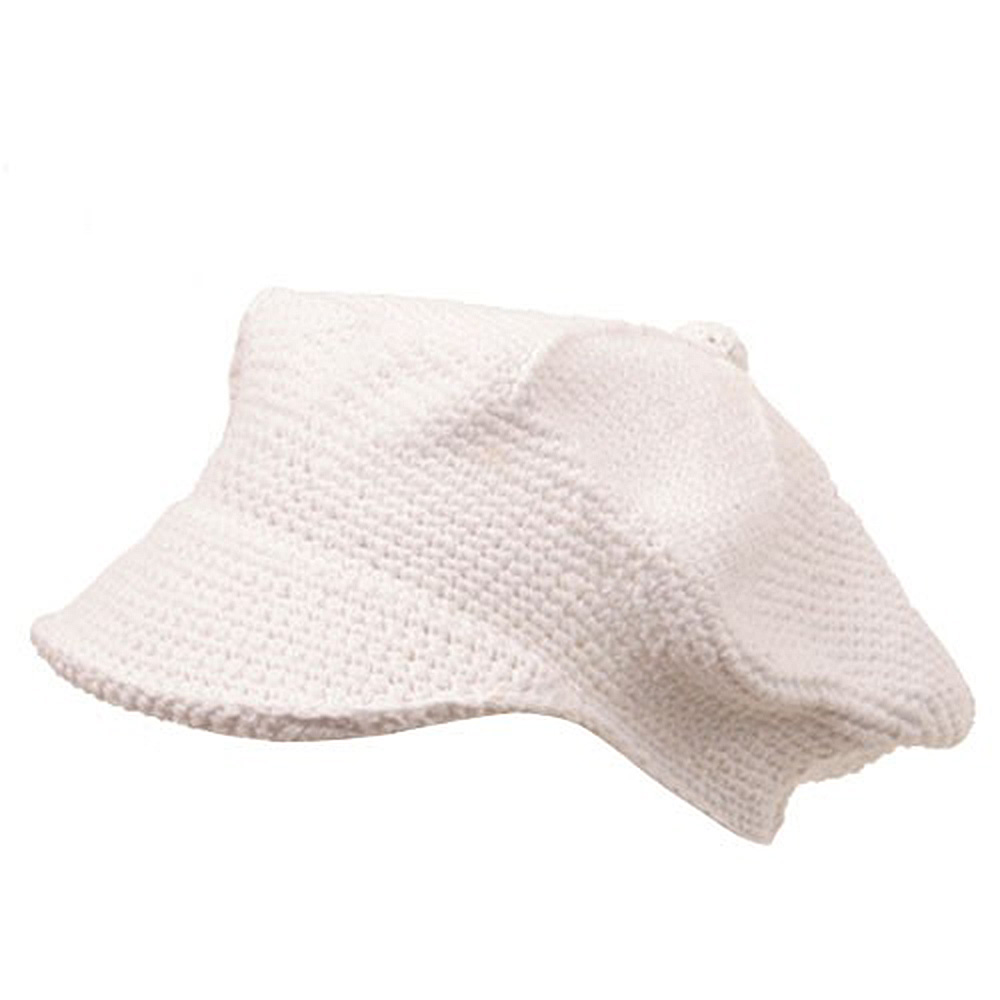 Crocheted Newsboy Hats(02)-White - Hats and Caps Online Shop - Hip Head Gear