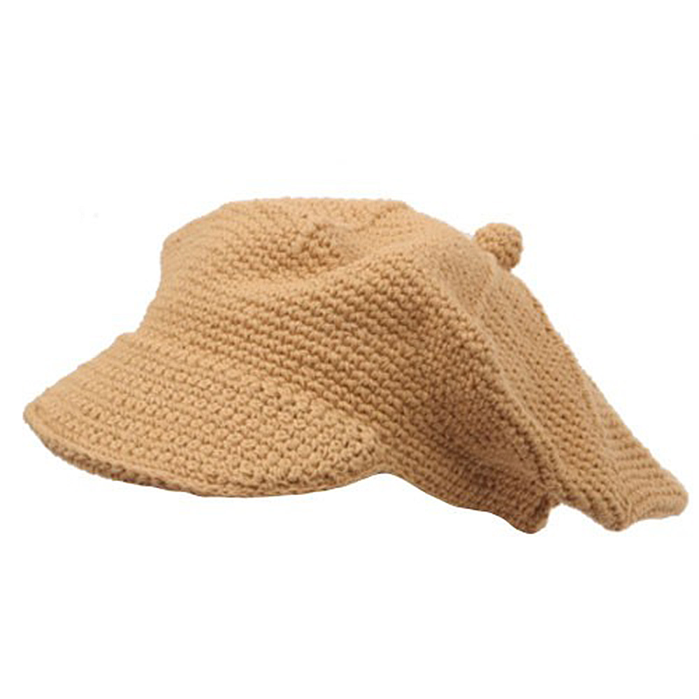 Crocheted Newsboy Hats(02)-Camel - Hats and Caps Online Shop - Hip Head Gear