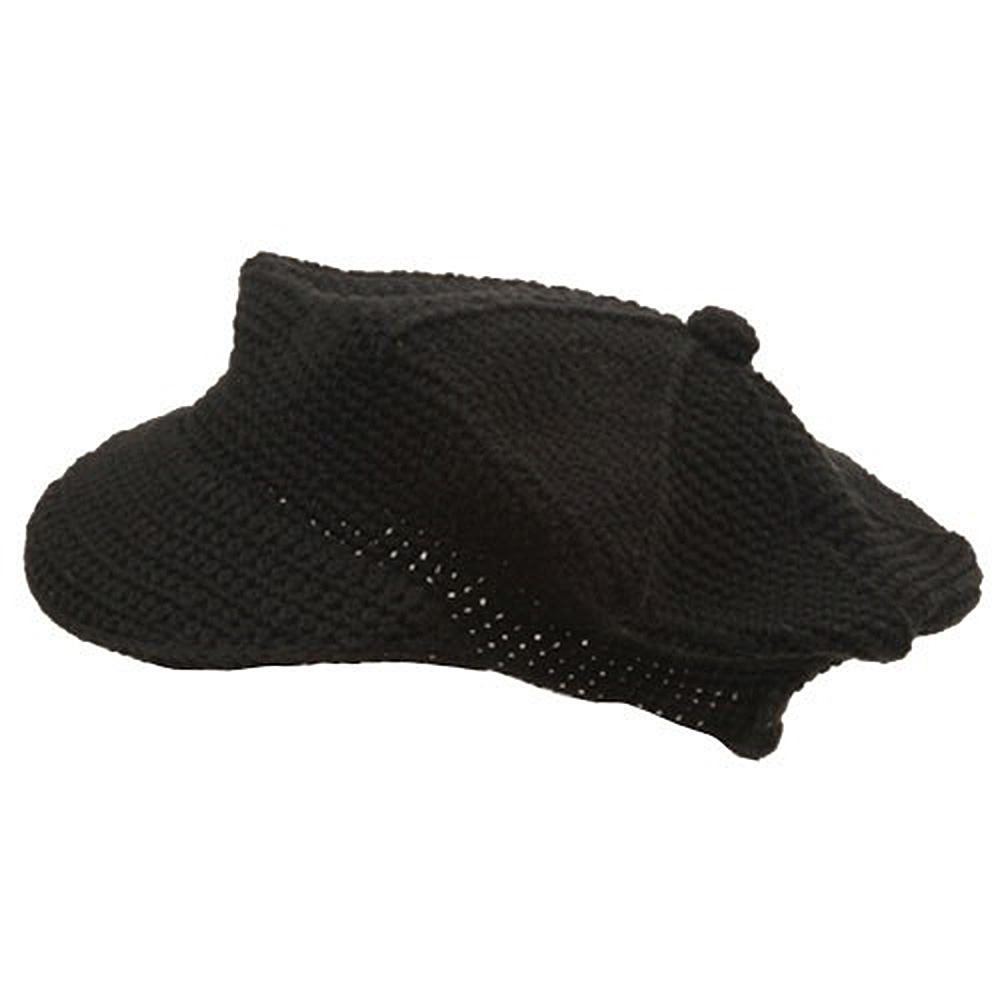 Crocheted Newsboy Hats(02)-Black - Hats and Caps Online Shop - Hip Head Gear