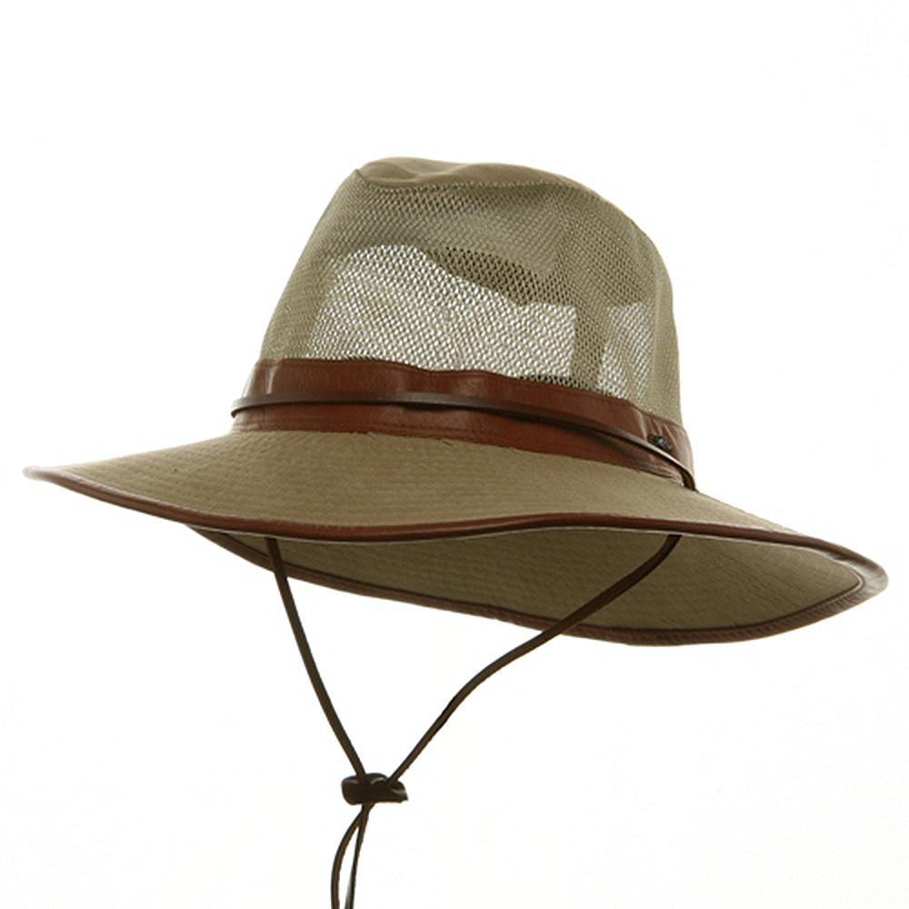 Big Size Mesh Safari Hats-Khaki Leather - Hats and Caps Online Shop - Hip Head Gear
