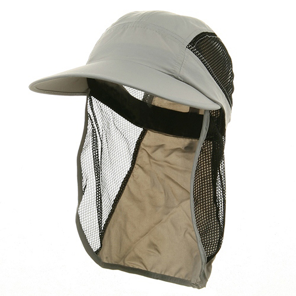 UV 50+ Protection Outdoor Flap Cap - Light Grey - Hats and Caps Online Shop - Hip Head Gear