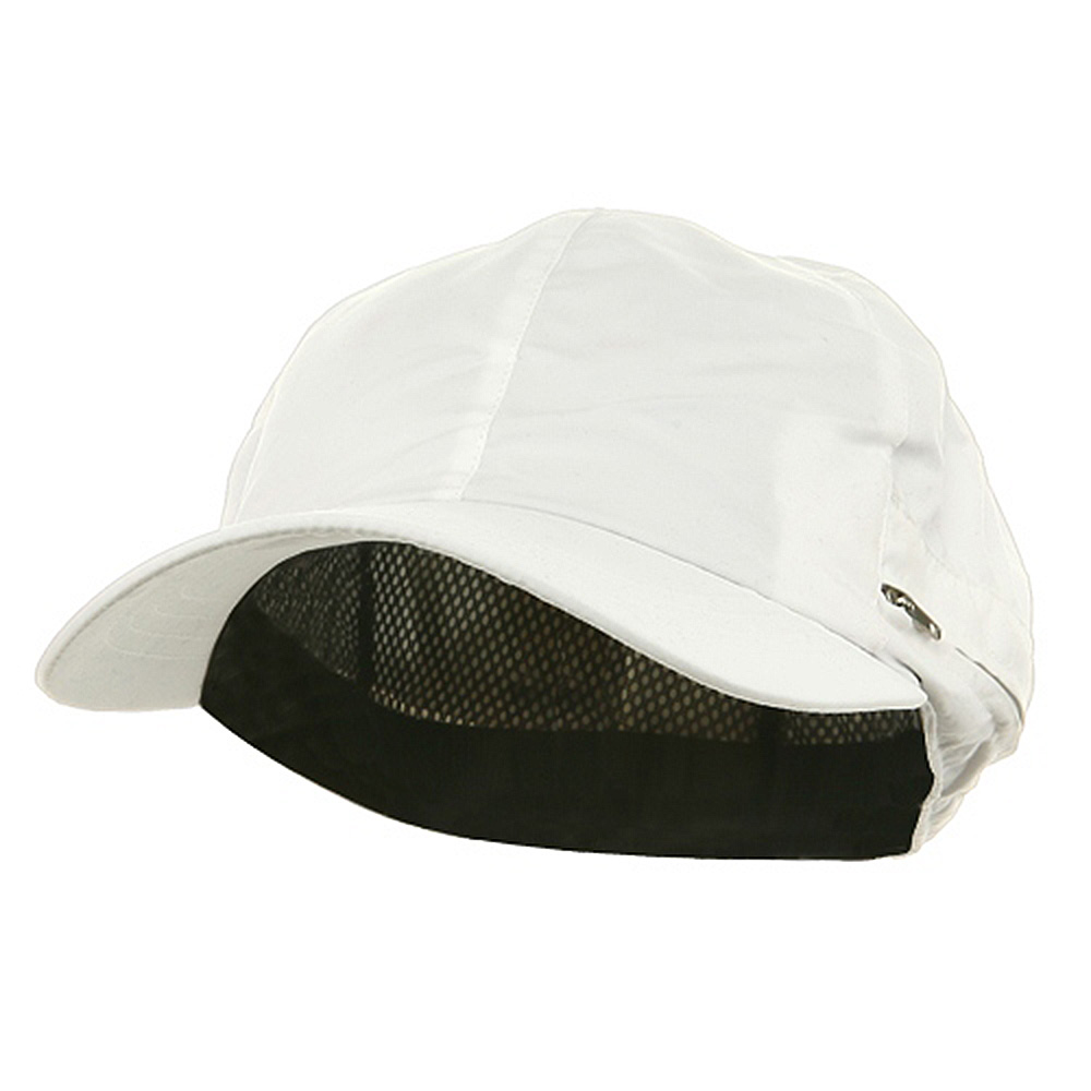 Zippered Flap Caps-White - Hats and Caps Online Shop - Hip Head Gear