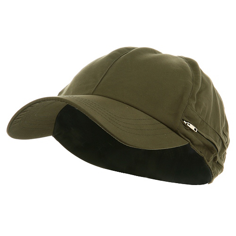 Zippered Flap Cap-Olive - Hats and Caps Online Shop - Hip Head Gear