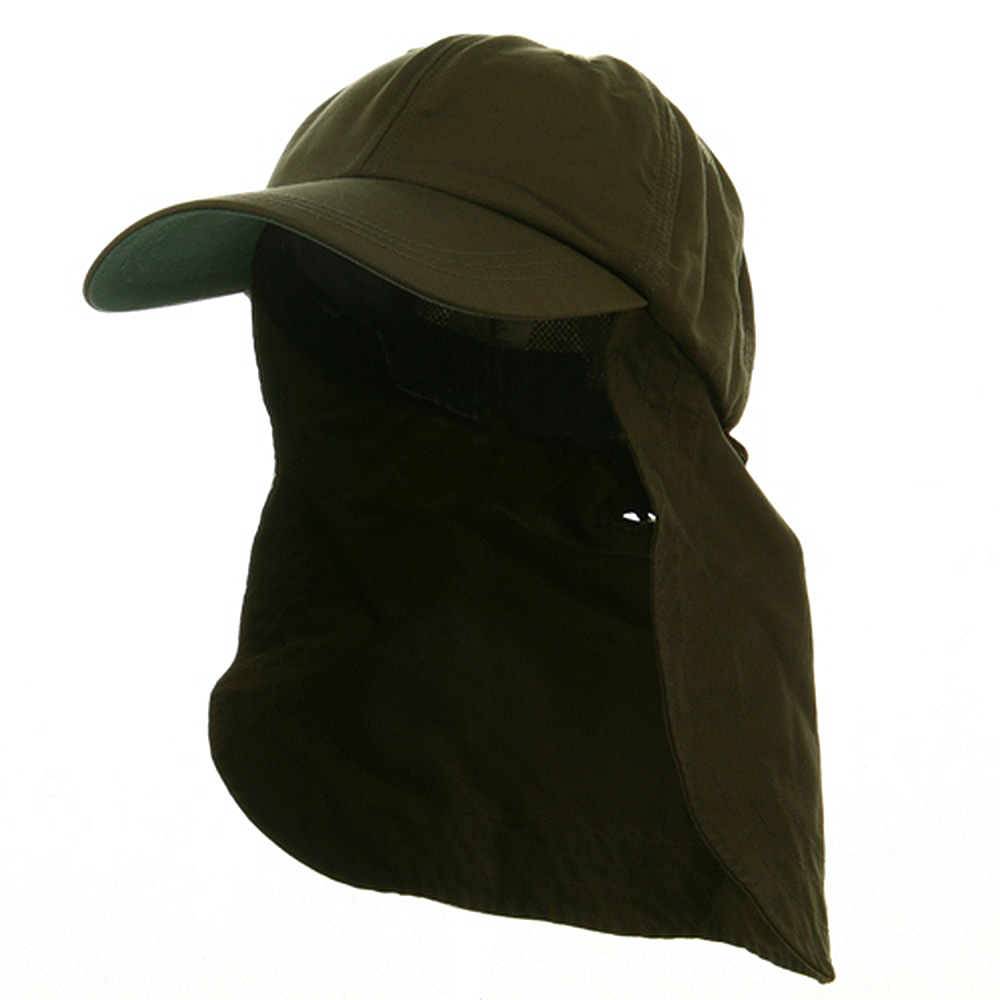 UV 45+ Zipper Flap Hats-Olive - Hats and Caps Online Shop - Hip Head Gear