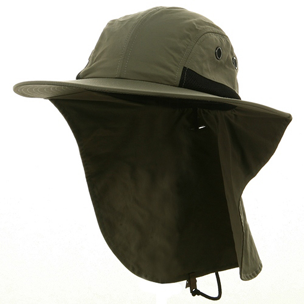 UV 4 Panel Large Bill Flap Hat-Olive - Hats and Caps Online Shop - Hip Head Gear