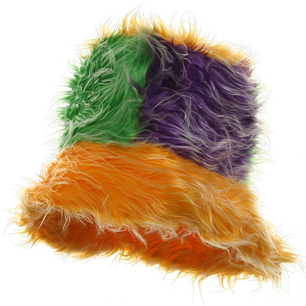 Mardi Gras Furry Hat-Yellow/Green Purple - Hats and Caps Online Shop - Hip Head Gear