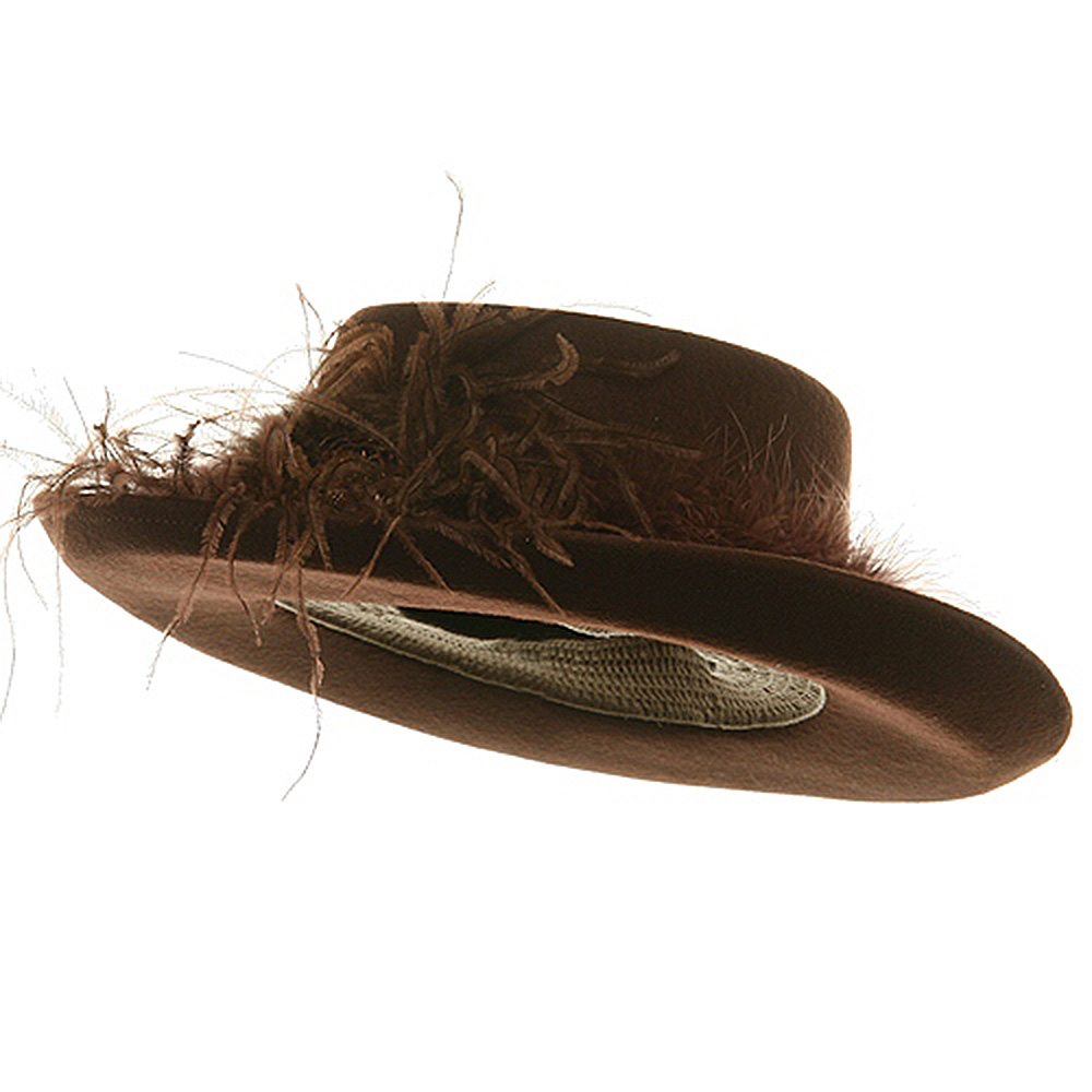 Fur Band Wool Felt Hat-Brown - Hats and Caps Online Shop - Hip Head Gear