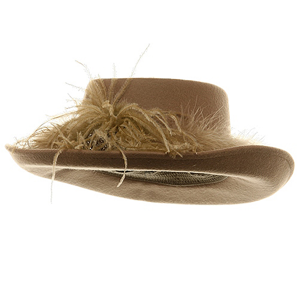 Fur Band Wool Felt Hat-Camel - Hats and Caps Online Shop - Hip Head Gear