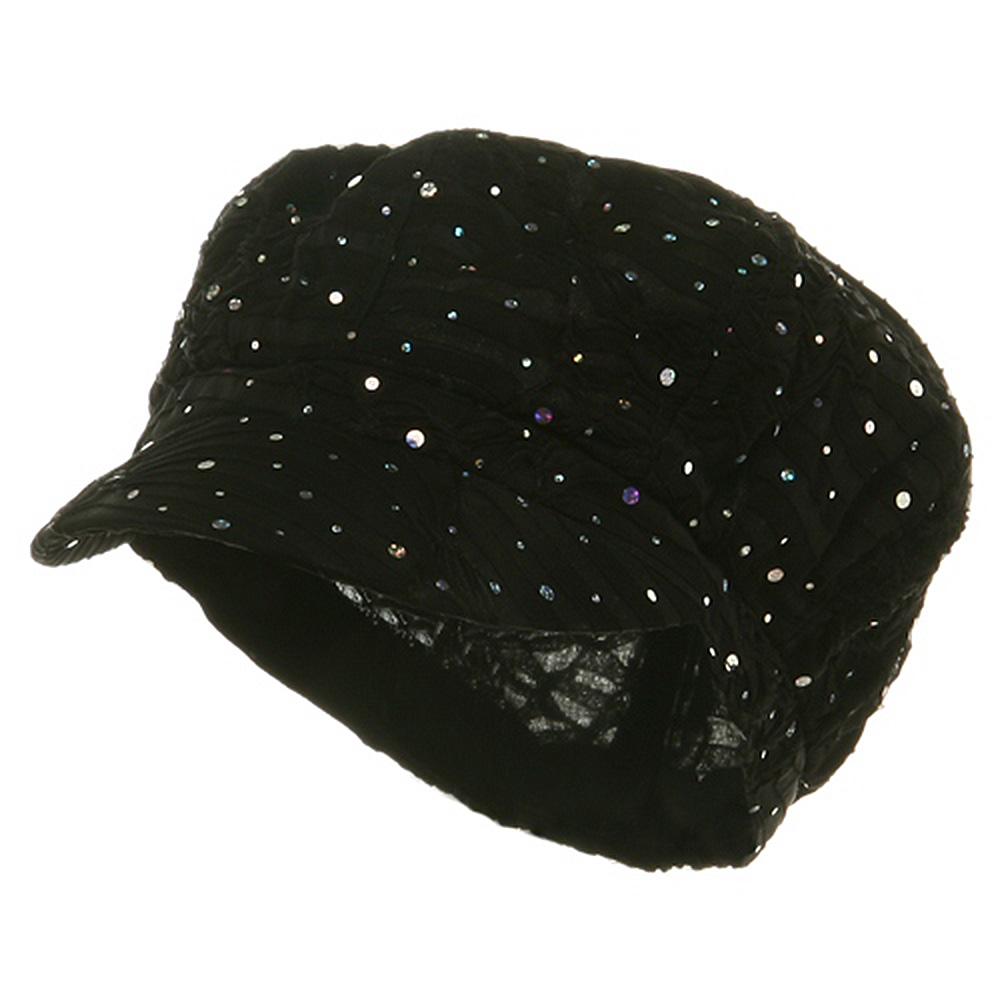 Glitter Newsboy Cap-Black - Hats and Caps Online Shop - Hip Head Gear