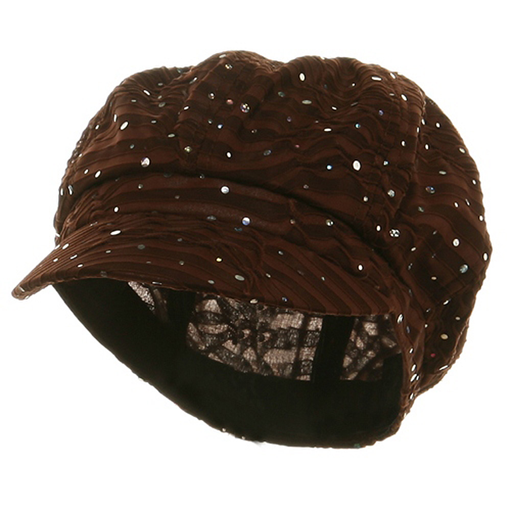 Glitter Newsboy Cap-Brown - Hats and Caps Online Shop - Hip Head Gear