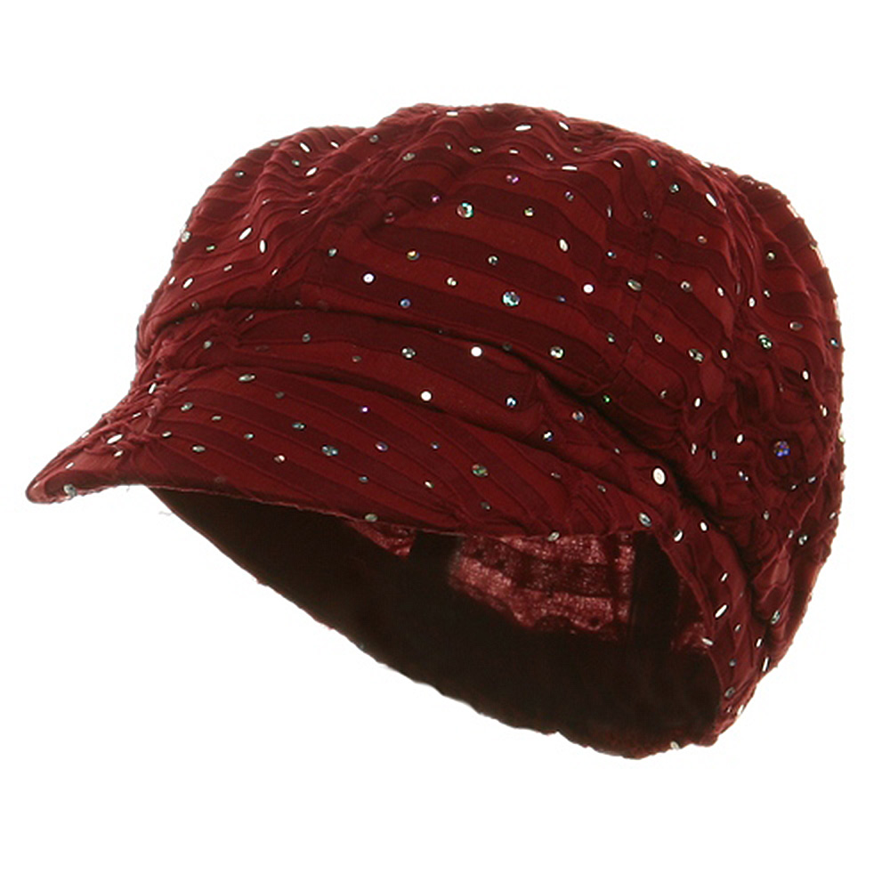 Glitter Newsboy Cap-Burgundy - Hats and Caps Online Shop - Hip Head Gear