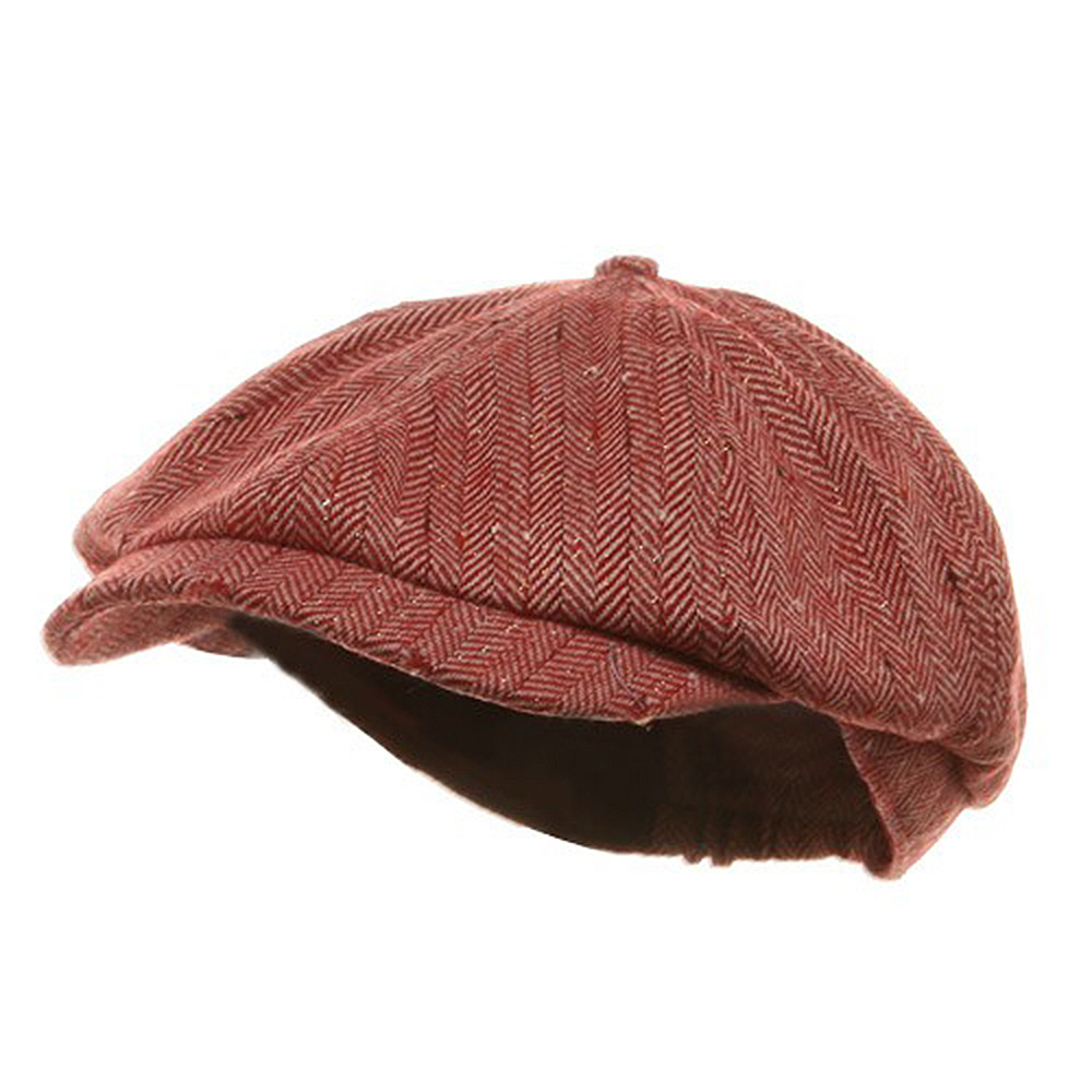 Herringbone Casquette Cap-Red
