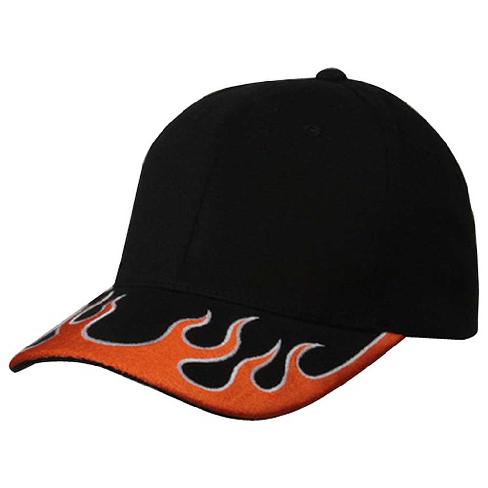 Fitted Flame Cap-Black Orange White - Hats and Caps Online Shop - Hip Head Gear