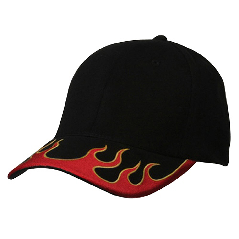 Fitted Flame Cap-Black Red Yellow - Hats and Caps Online Shop - Hip Head Gear