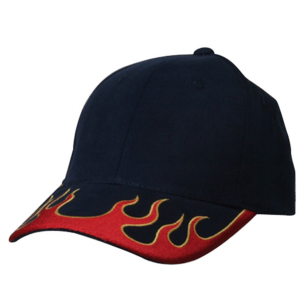 Fitted Flame Cap-Navy Red Yellow - Hats and Caps Online Shop - Hip Head Gear