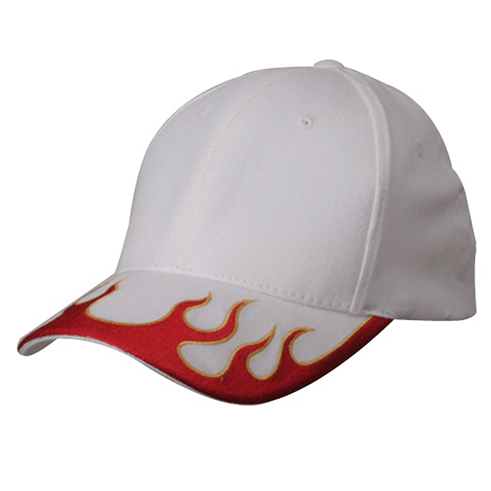 Fitted Flame Cap-White Red Yellow - Hats and Caps Online Shop - Hip Head Gear