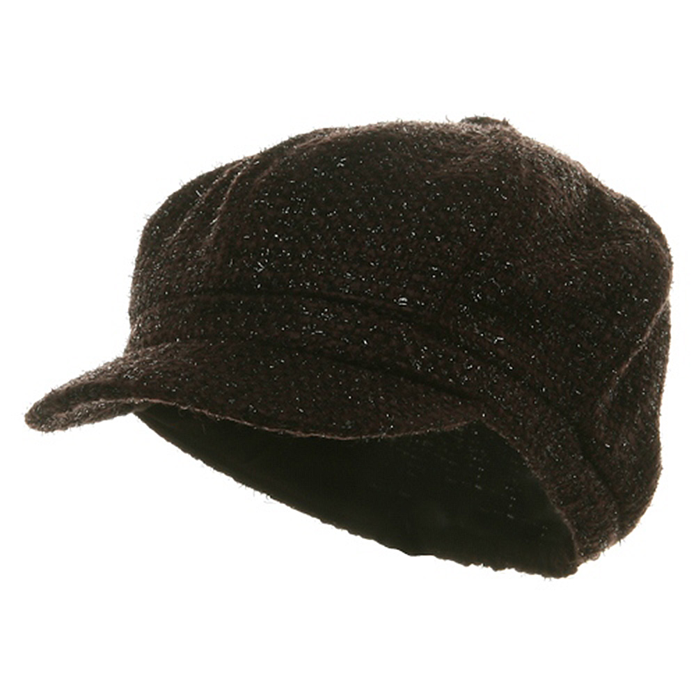 Metallic Tweed Newsboy Cap-Brown - Hats and Caps Online Shop - Hip Head Gear