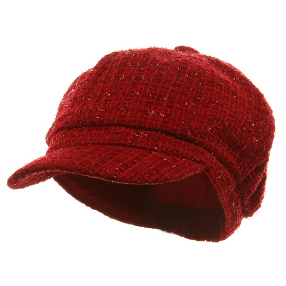 Metallic Tweed Newsboy Cap-Red - Hats and Caps Online Shop - Hip Head Gear