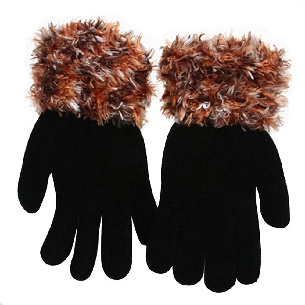 Feather Yarn Gloves-Khaki