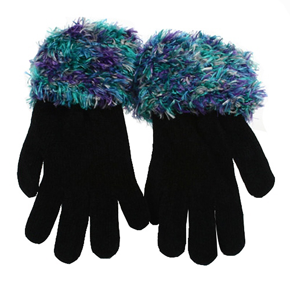 Feather Yarn Gloves-Green