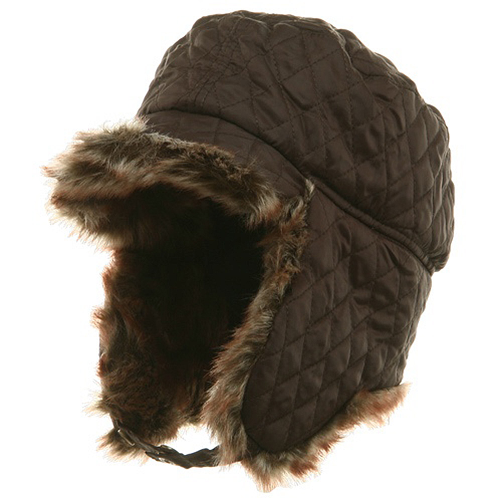 Quilted Trooper Fur Hat-Brown - Hats and Caps Online Shop - Hip Head Gear