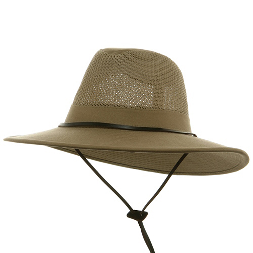 UPF 50+ Brushed Twill Mesh Safari Hat-Camel - Hats and Caps Online Shop - Hip Head Gear