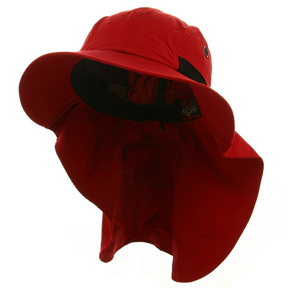 Big Size UV 45+ Extreme Condition Flap Hats -Red