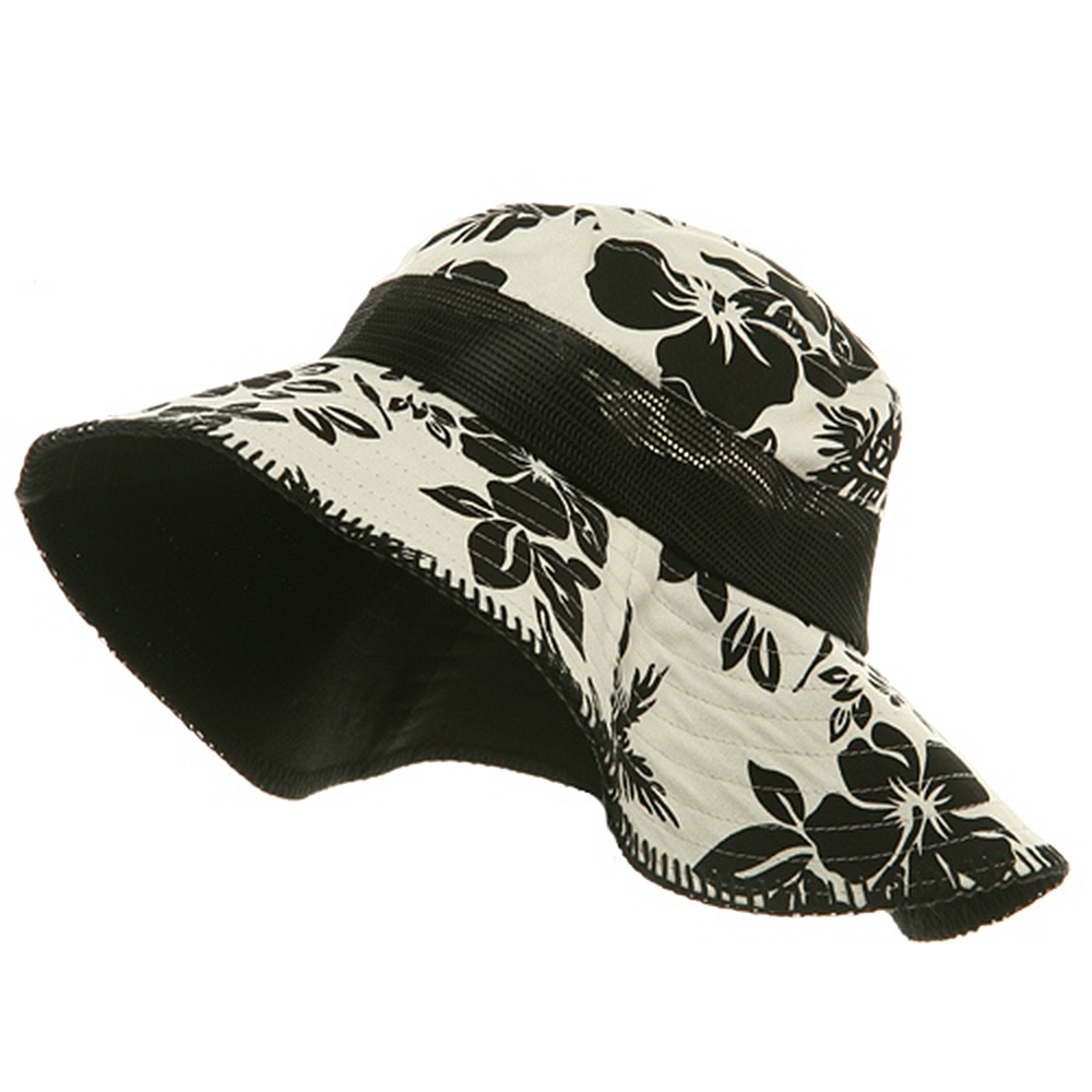 Canvas Flower Bucket Hat-Black - Hats and Caps Online Shop - Hip Head Gear