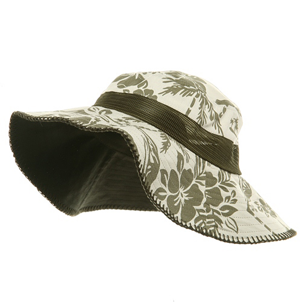 Canvas Flower Bucket Hat-Olive - Hats and Caps Online Shop - Hip Head Gear