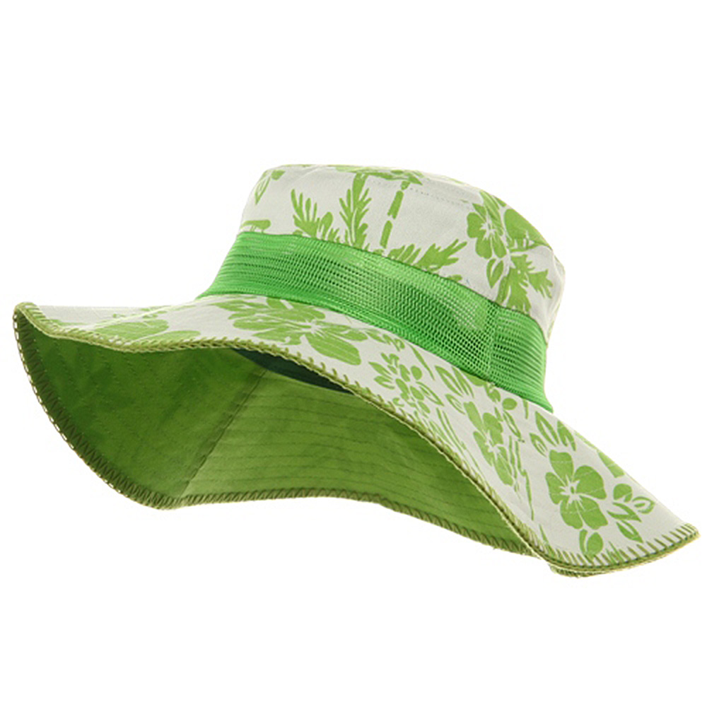 Canvas Flower Bucket Hats-Lime - Hats and Caps Online Shop - Hip Head Gear