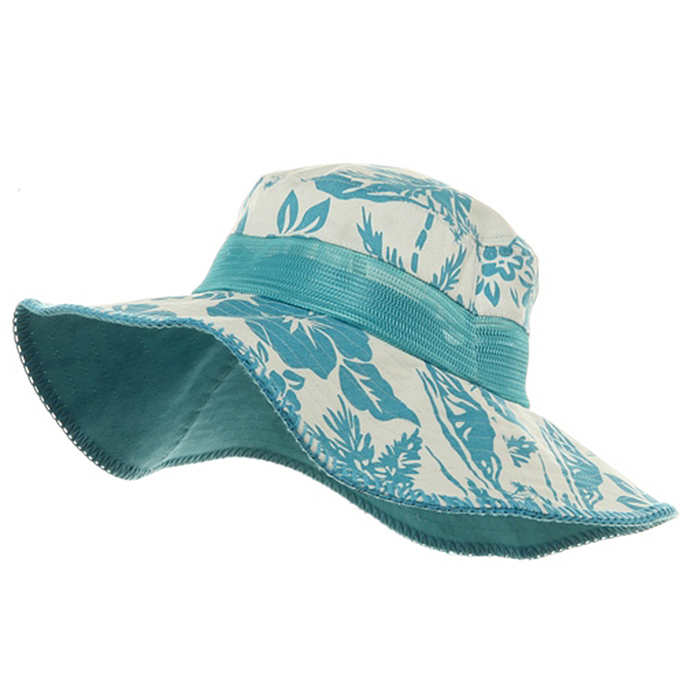 Canvas Flower Bucket Hats-Turquoise - Hats and Caps Online Shop - Hip Head Gear