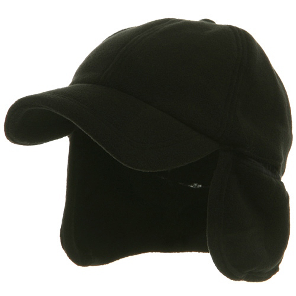 Fleece Earflap Ball Cap - Black - Hats and Caps Online Shop - Hip Head Gear