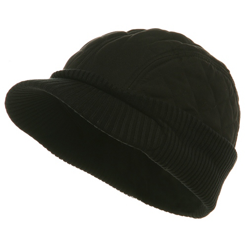 Winter Quilted Cap-Black - Hats and Caps Online Shop - Hip Head Gear