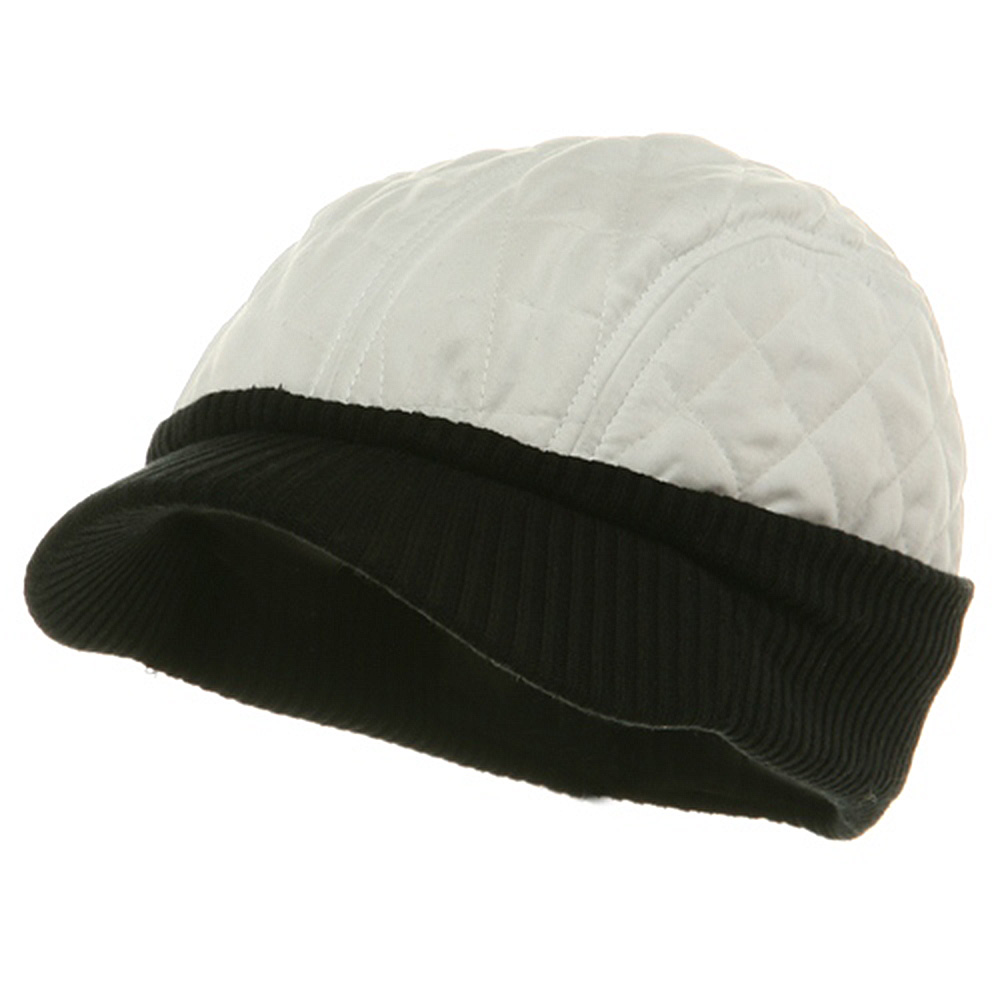 Winter Quilted Cap-White