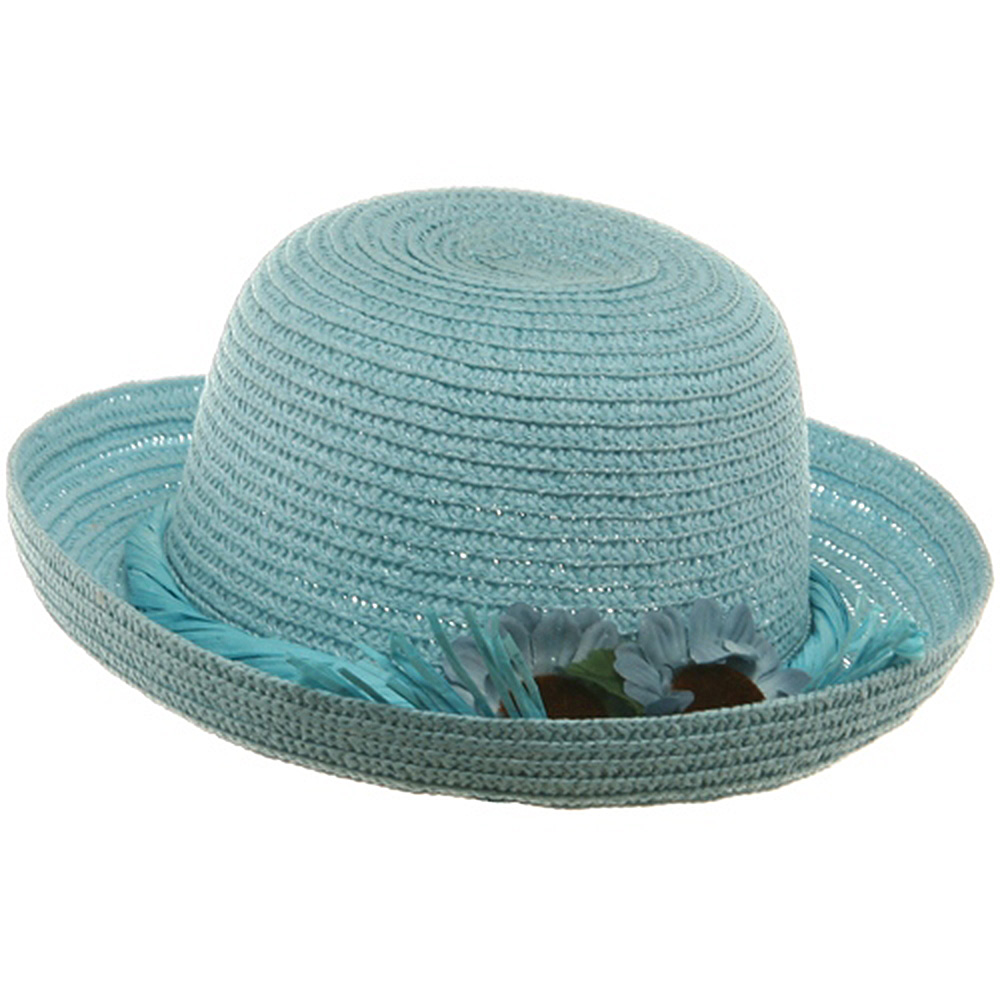 Flower Twisted Toyo Hat-Aqua - Hats and Caps Online Shop - Hip Head Gear