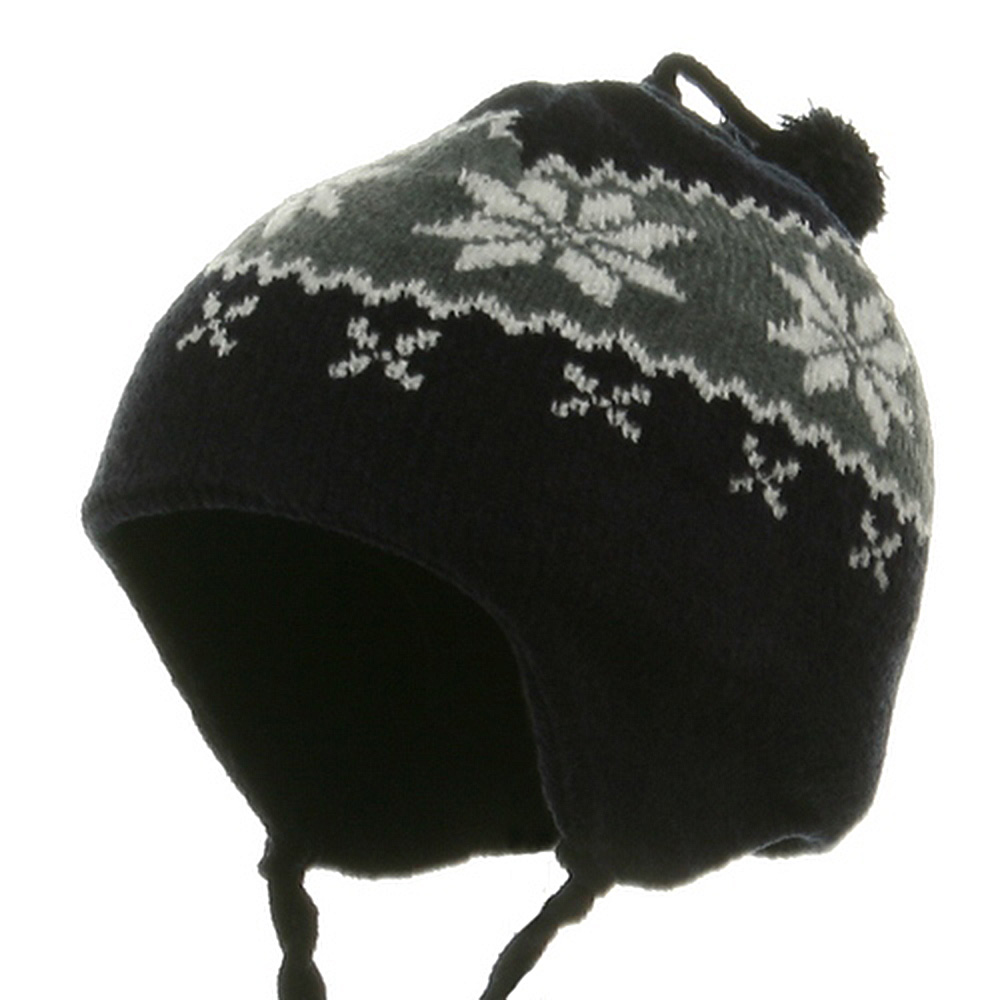 Youth Chenille Snow flake Hat - Navy - Hats and Caps Online Shop - Hip Head Gear