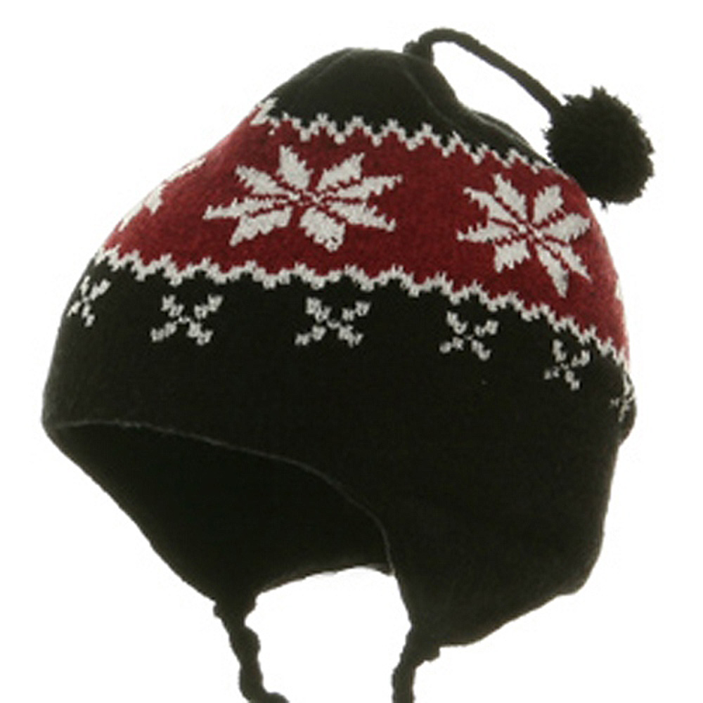 Youth Chenille Snow flake Hat - Red - Hats and Caps Online Shop - Hip Head Gear