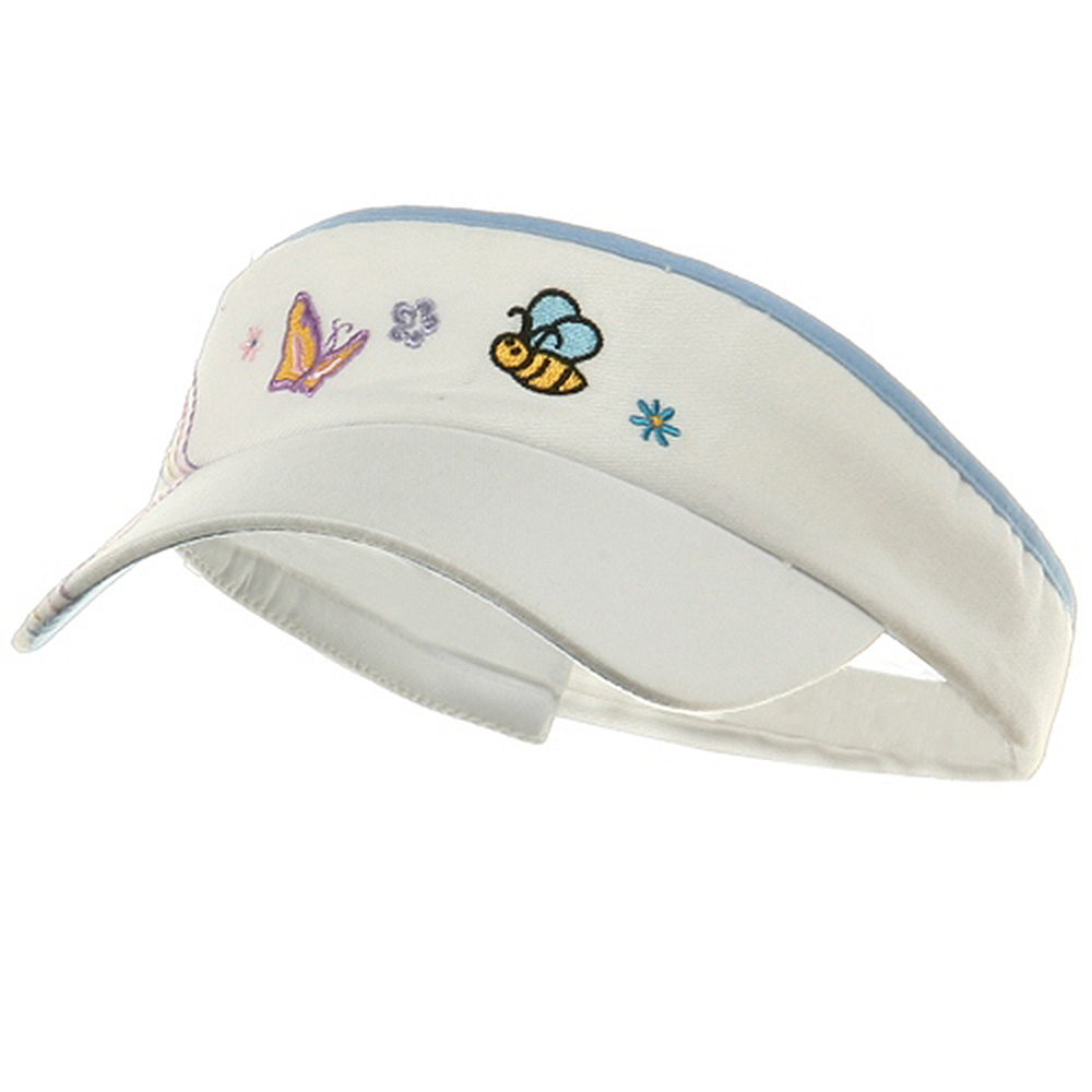 Kid's Embroidered Visors-White Aqua - Hats and Caps Online Shop - Hip Head Gear