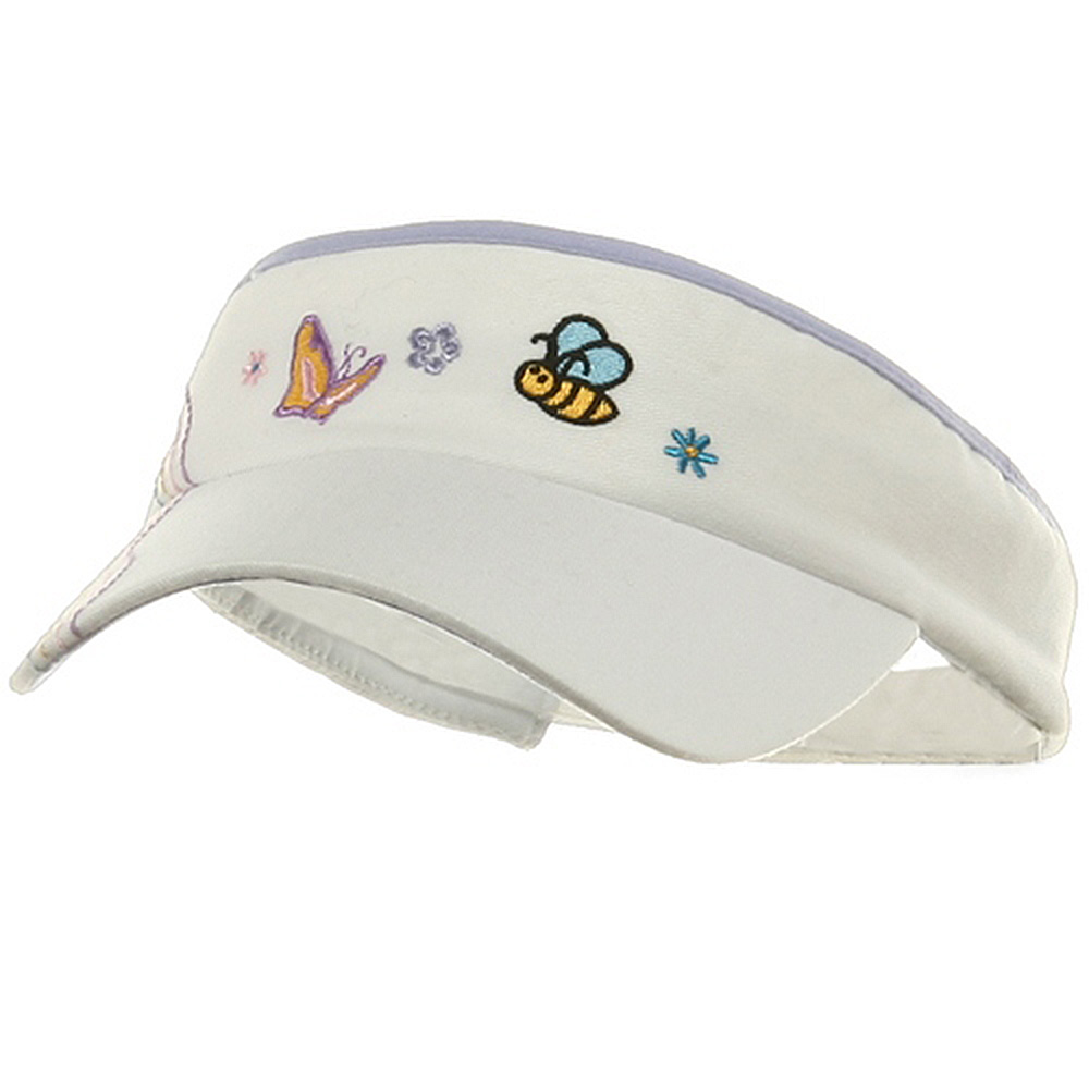 Kid's Embroidered Visors-white lilac - Hats and Caps Online Shop - Hip Head Gear