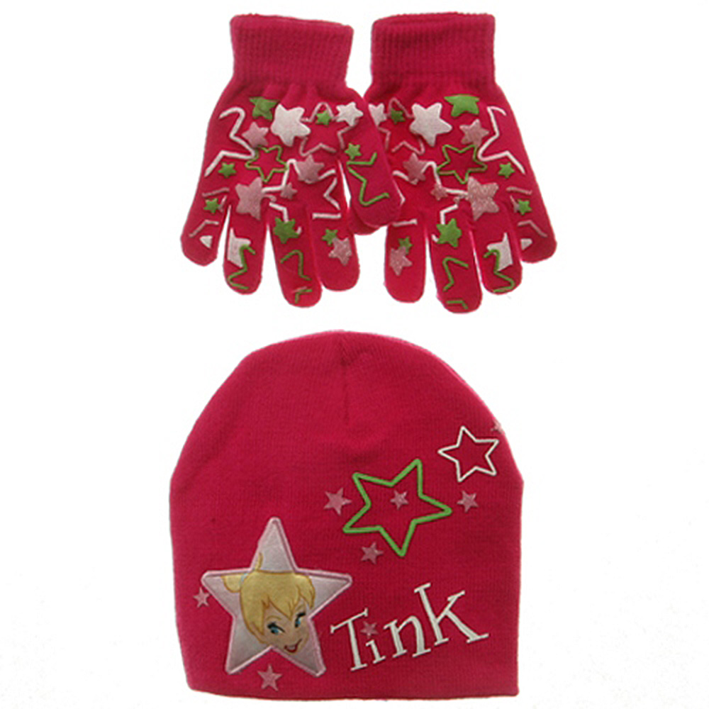 Tinkerbell Knit Hat and Glove Set-Hot Pink