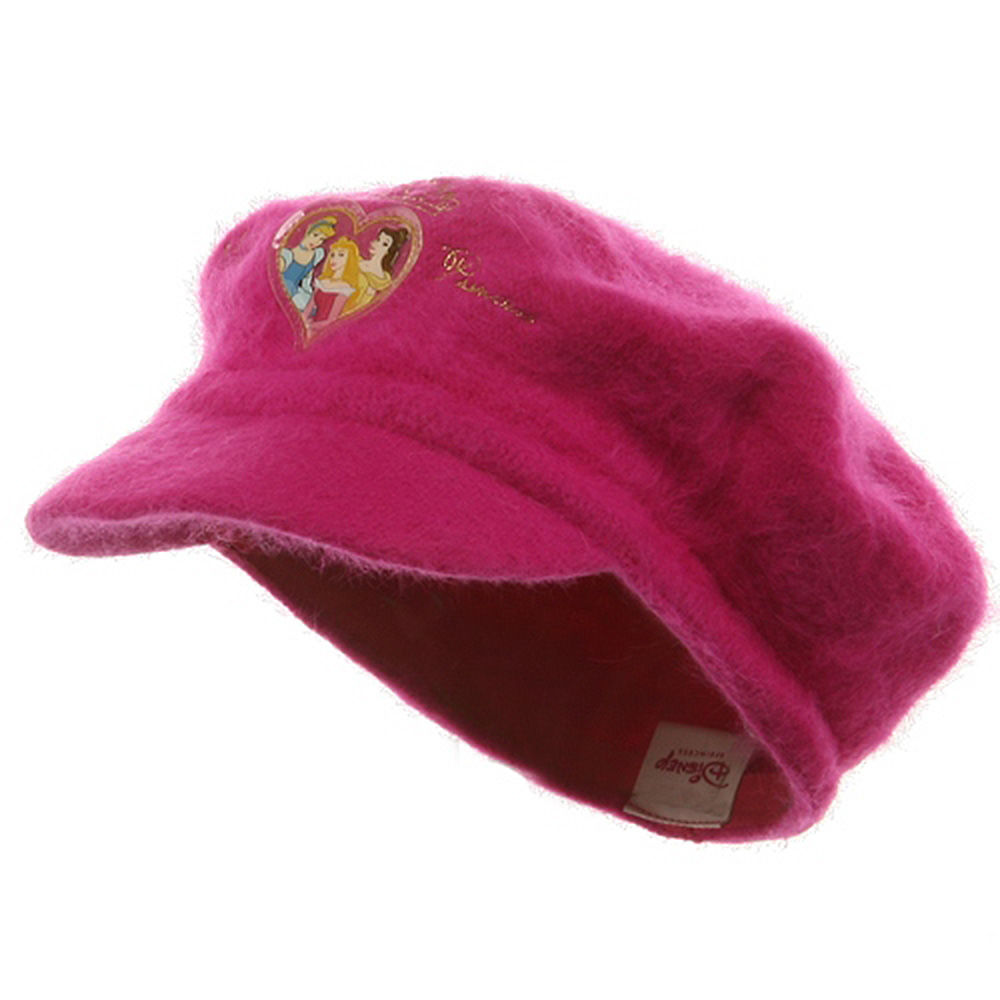 Princess Girl's Mohair Newsboy Cap-Hot Pink