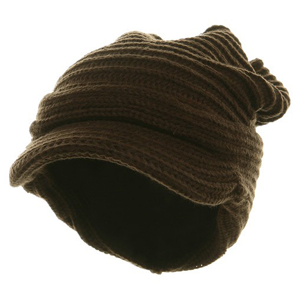 New Knitted Cuff Visor Hat - Brown - Hats and Caps Online Shop - Hip Head Gear