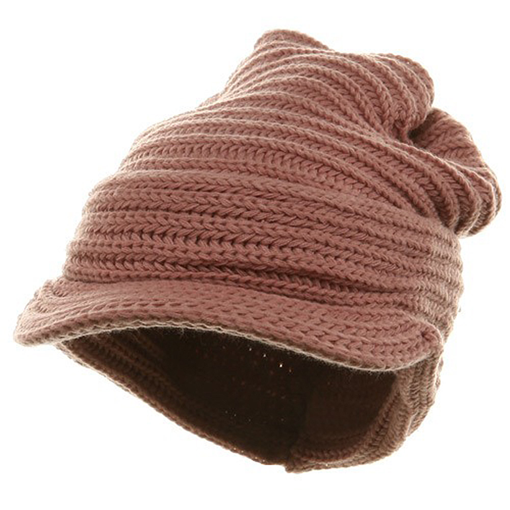 New Knitted Cuff Visor Hat - Pink - Hats and Caps Online Shop - Hip Head Gear