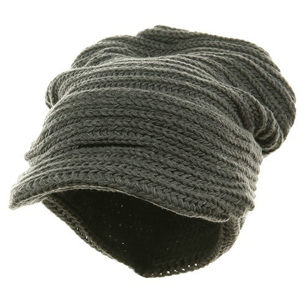 New Knitted Cuff Visor Hat - Grey - Hats and Caps Online Shop - Hip Head Gear