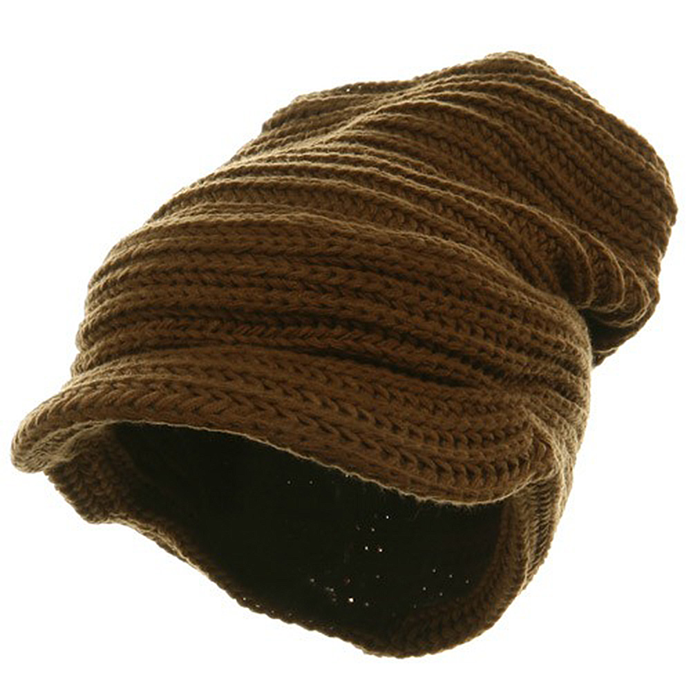 New Knitted Cuff Visor Hat - Khaki - Hats and Caps Online Shop - Hip Head Gear