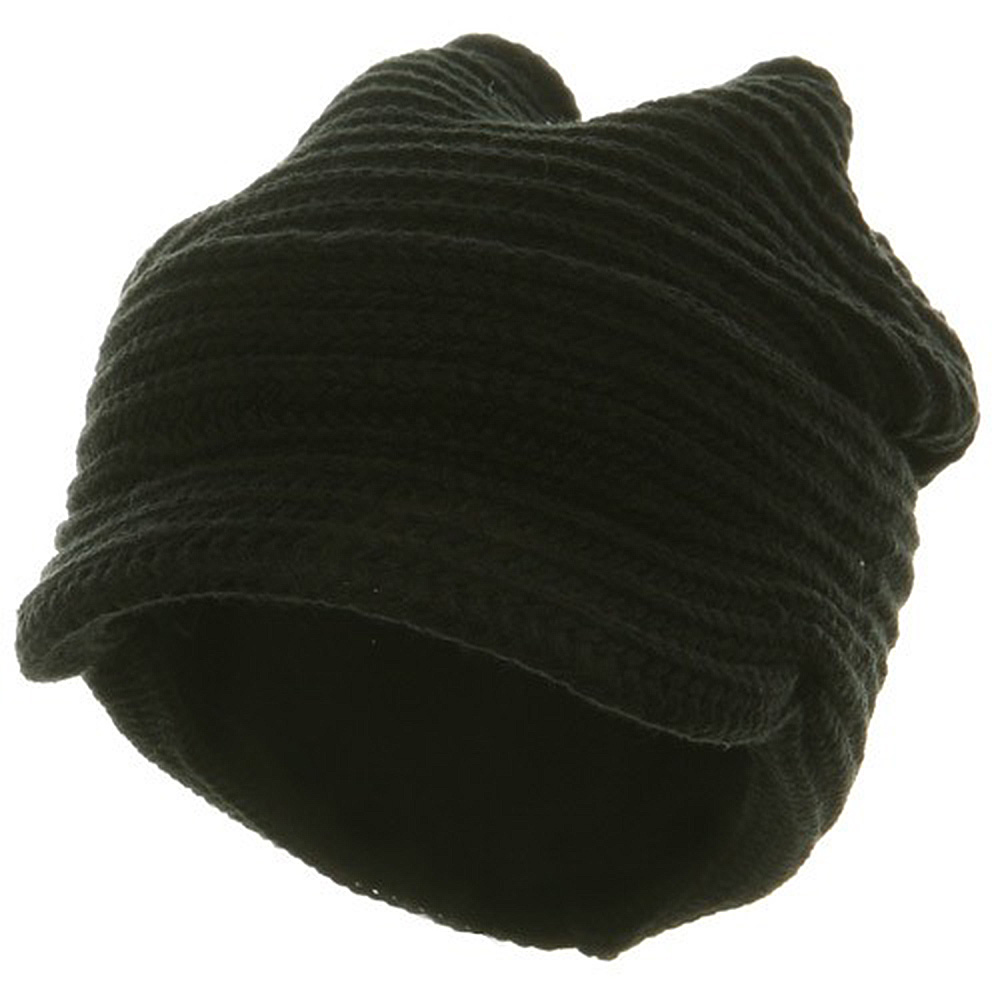 New Knitted Cuff Visor Hat - Black - Hats and Caps Online Shop - Hip Head Gear