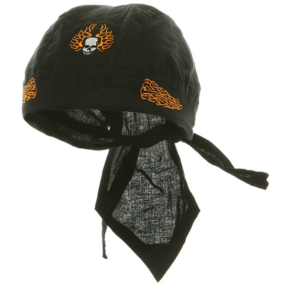 Embroidery Series Head Wraps-Skull With Flame - Hats and Caps Online Shop - Hip Head Gear