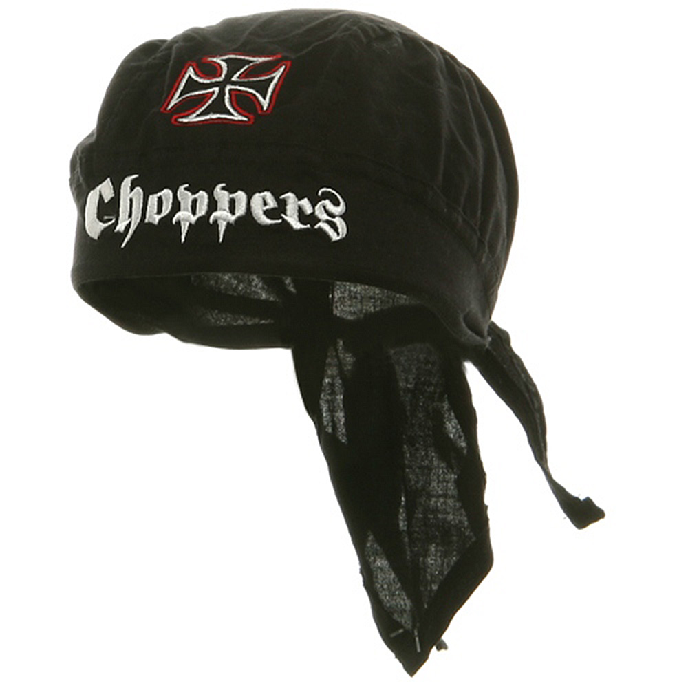 Embroidery Series Head Wraps-White Red Chopper